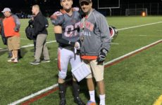 #87 Owen Stark with Head Coach Farhan Lalji, Player of the Game