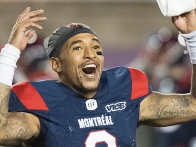 Montreal Alouettes quarterback Vernon Adams Jr., reacts after defeating the Calgary Stampeders in a CFL football game in Montreal on Oct. 5. (Graham Hughes/The Canadian Press)