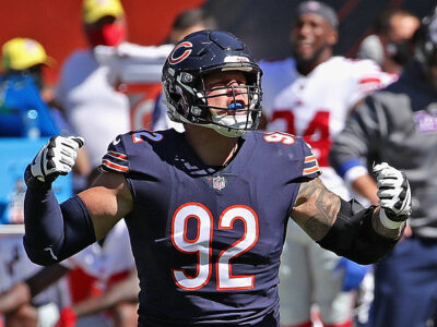 CHICAGO, ILLINOIS - SEPTEMBER 20: Brent Urban #92 of the Chicago Bears celebrates a defensive stop against the New York Giants at Soldier Field on September 20, 2020 in Chicago, Illinois. (Photo by Jonathan Daniel/Getty Images)