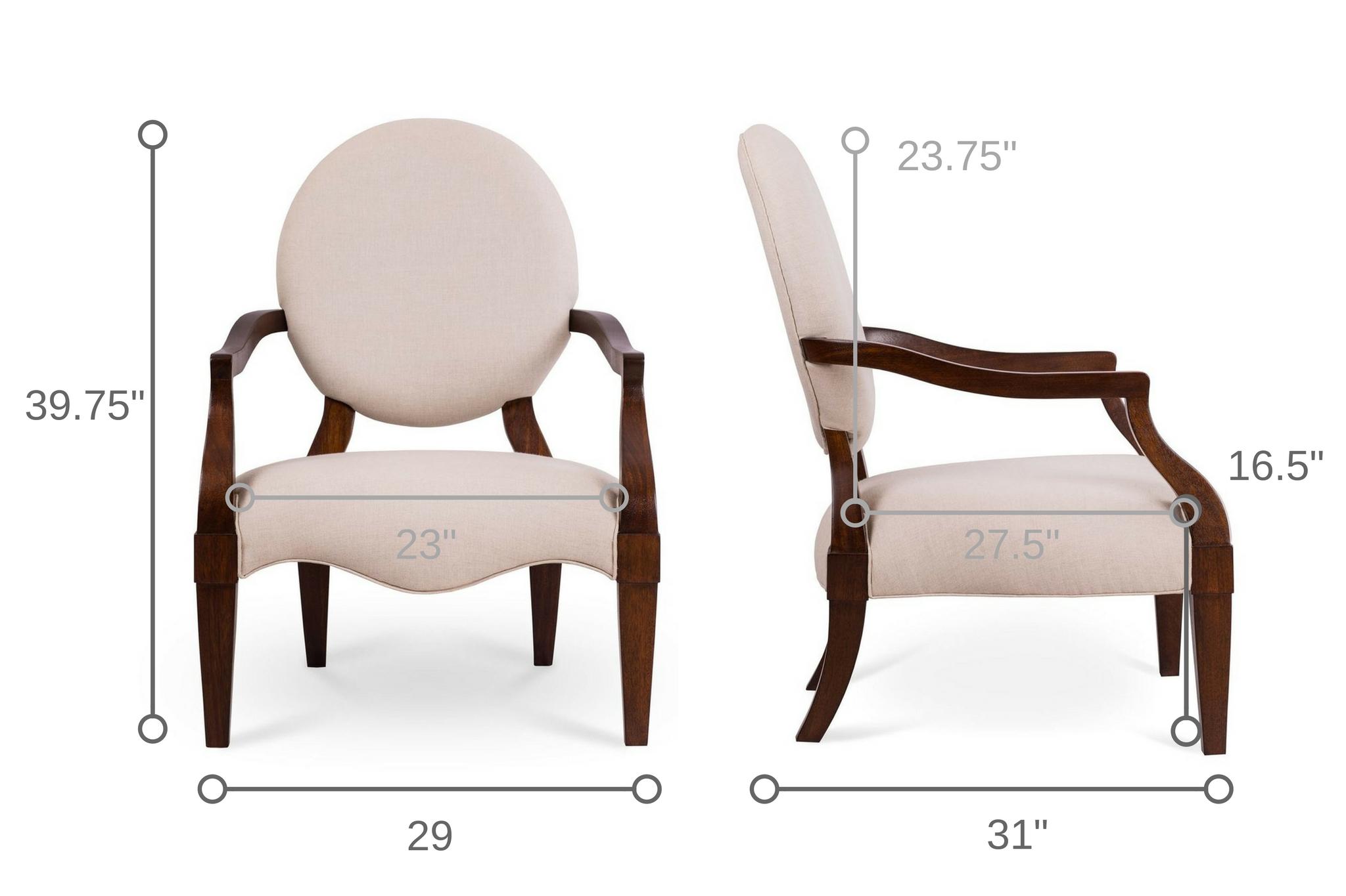 Dowel Furniture Bea Lounge Chair Dimensions