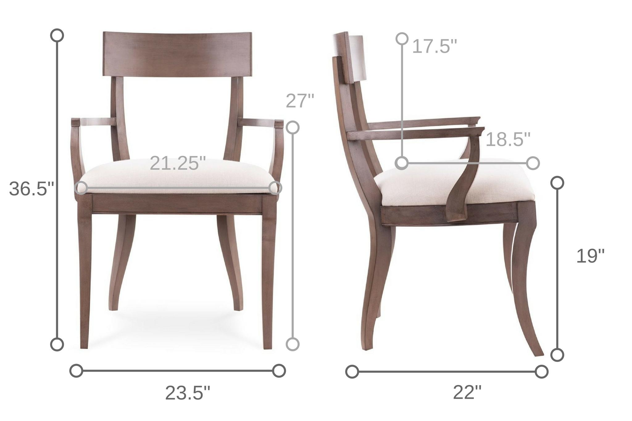 Dowel Furniture Grace Klismos Arm Chair Dimensions