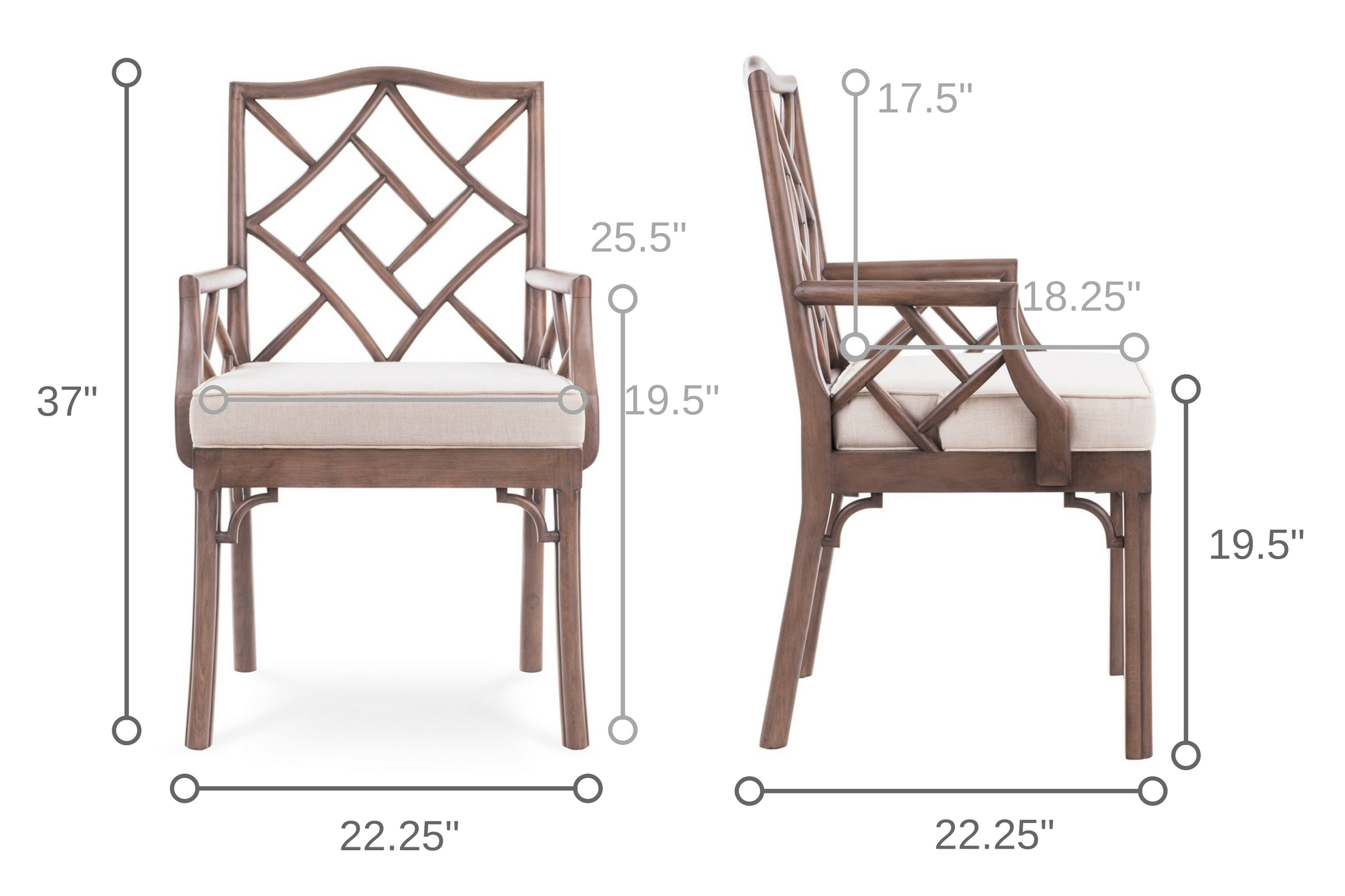 Dowel Furniture James Chinese Chippendale Arm Chair Dimensions