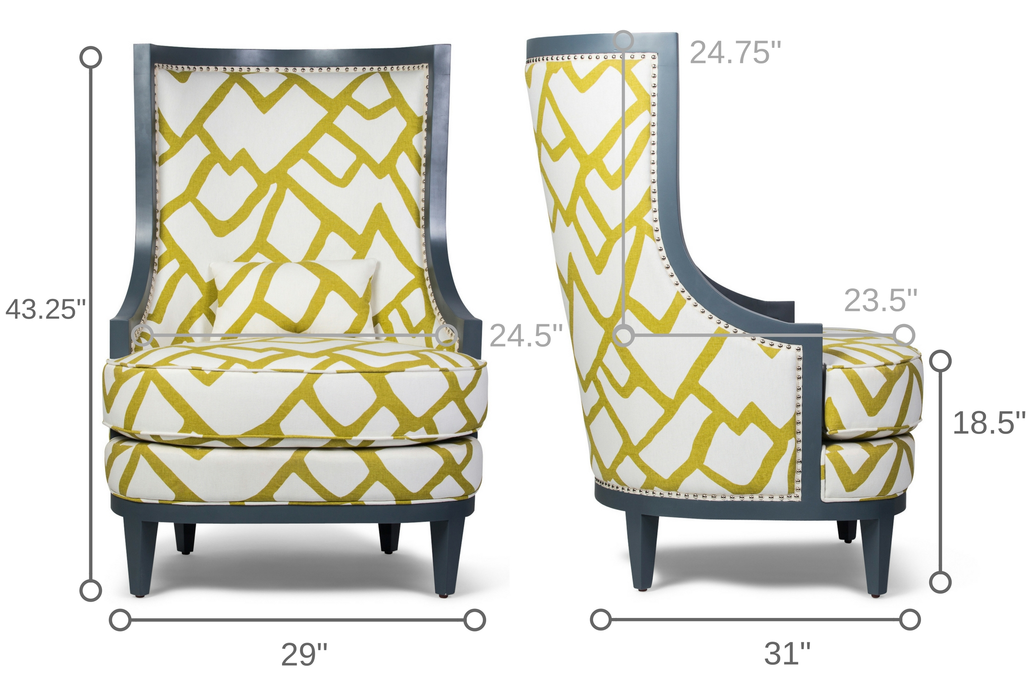 Dowel Furniture Royale Wing Chair Dimensions