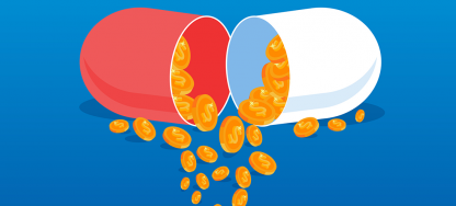 A pill filled with coins mirrors the idea that B2B integration is a cure for business ailments