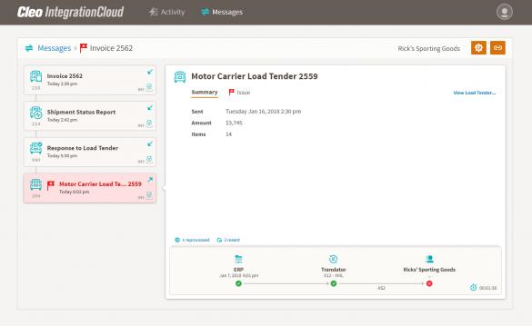 Cleo Integration Cloud - Integration Flows, Messages