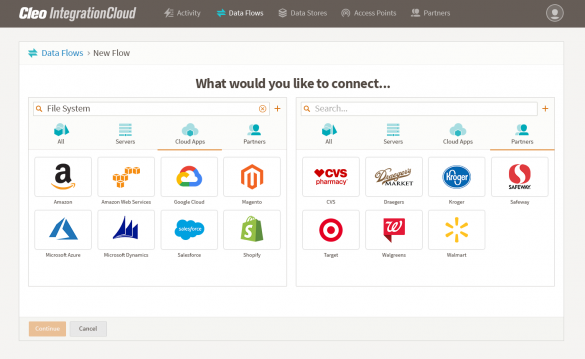 Cleo Integration Cloud screenshot: accelerate partner and application onboarding.