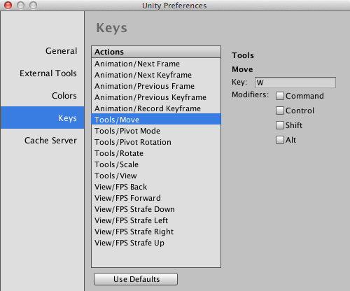 Keyboard Commands in Unity Preferences