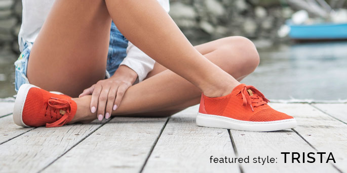 Featured Style: Trista sneaker, shown in dark orange. Shop Trista