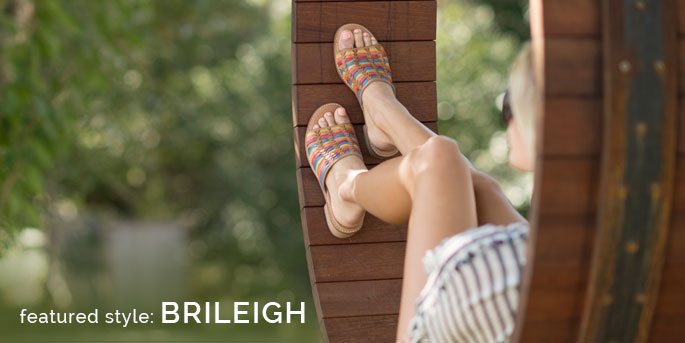 Featured Style: Brileigh huarache, shown in sand multi leather. Shop Brileigh