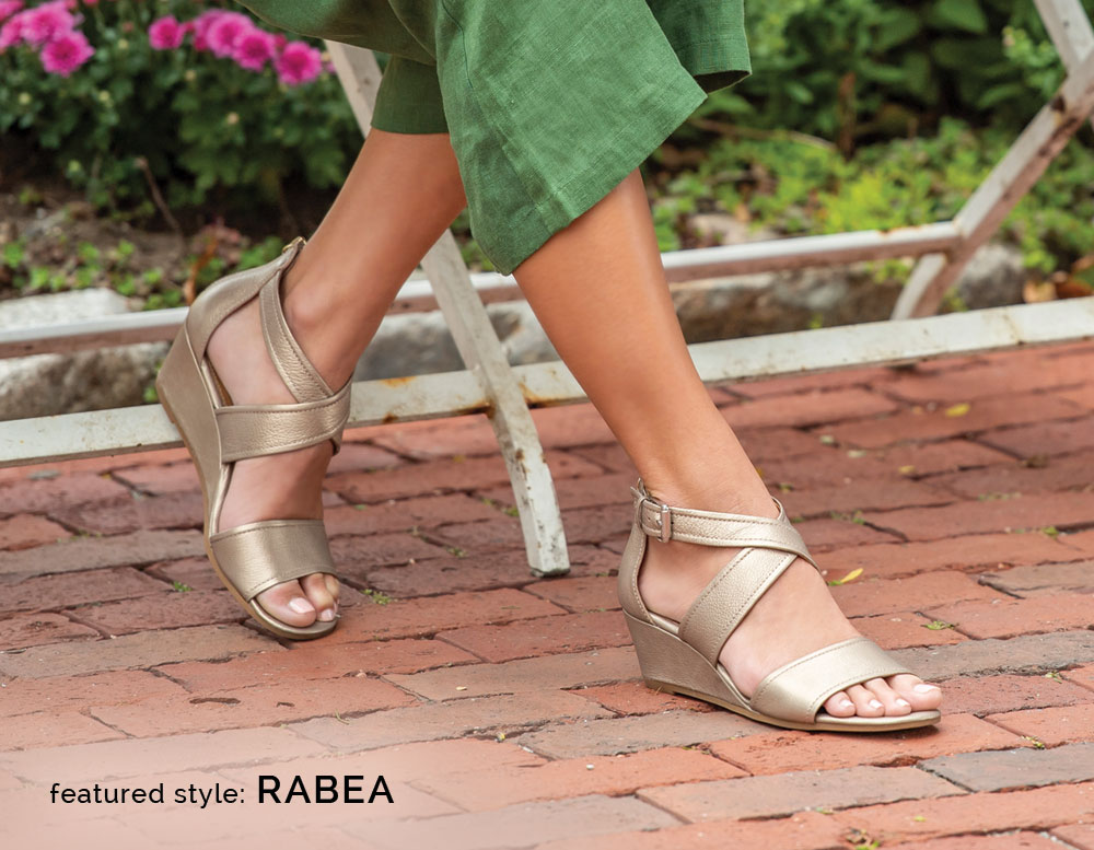 Featured style: Rabea wrapped wedge sandal, shown in soft gold metallic leather
