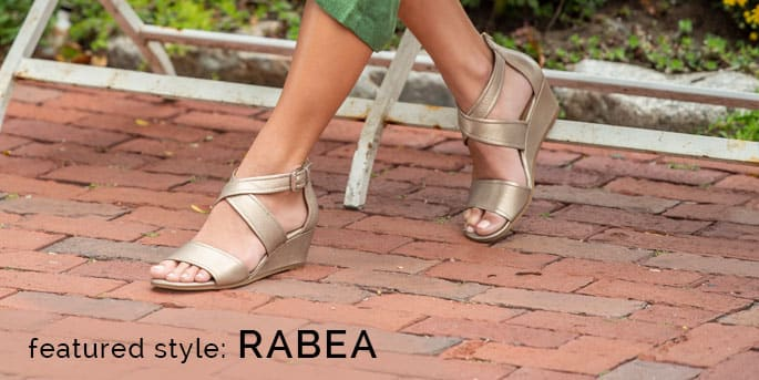 Featured Style: Rabea wrapped wedge sandal, shown in soft gold metallic leather.  Shop Rabea