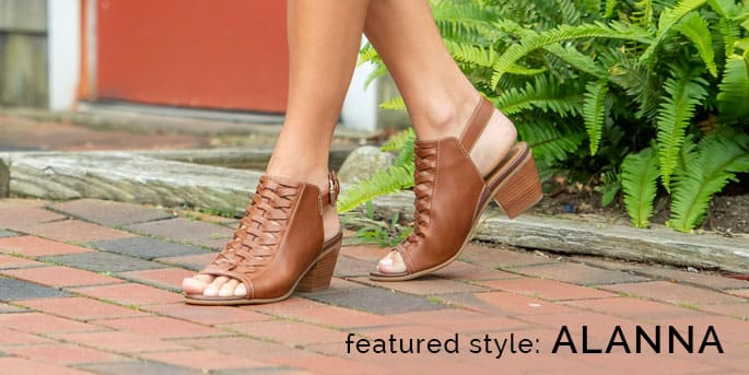 Featured Style: Alanna wedge, shown in cognac full-grain leather. Shop Alanna
