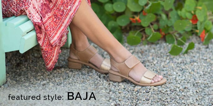 Featured Style: Baja block heel sandal, shown in caramel with gold embossed snake print. Shop Baja