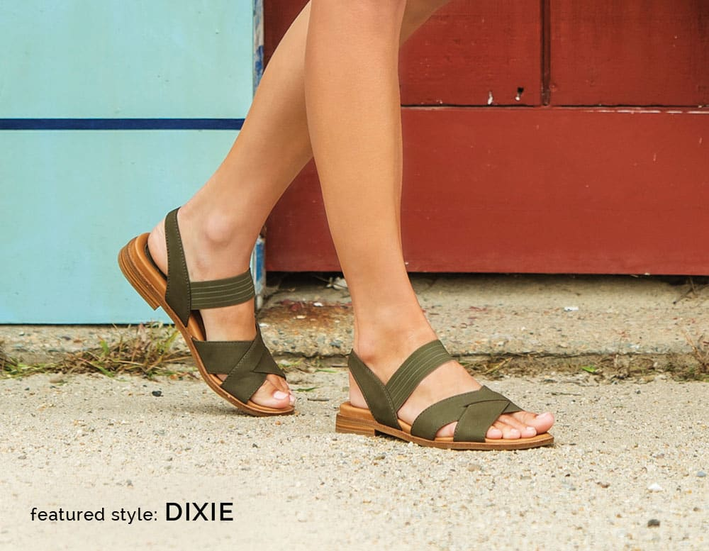 Featured style: Dixie stretch strap sandal, shown in olive nubuck