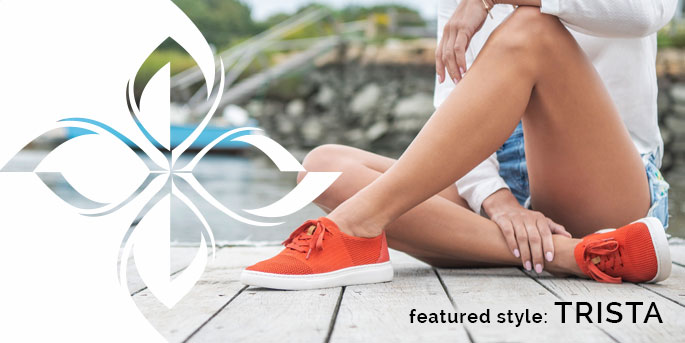 Featured Style: Trista sneaker, shown in dark orange.  Shop Trista