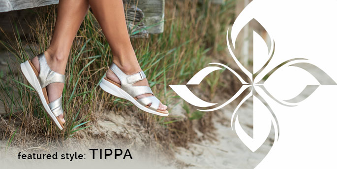 Featured Style: Tippa sandal, shown in silver. Shop Tippa