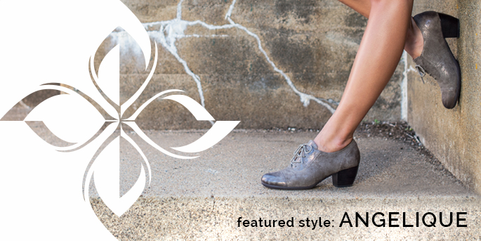 Featured Style: Angelique oxford heel, shown in smoke embossed metallic suede. Shop Angelique