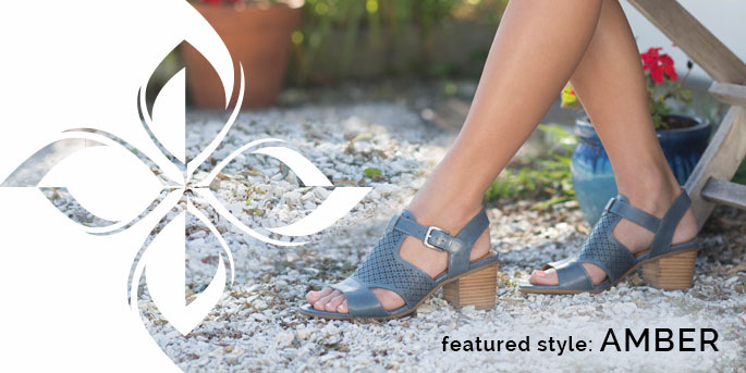 Featured Style: Amber sandal, shown in chambray blue. Shop Amber