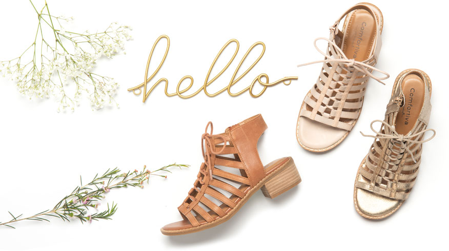 Blossom ghillie sandal shown in rosewater, gold and walnut tan. Shop Blossom