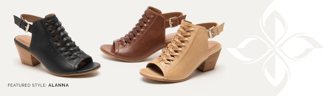 Featured Style: Alanna shown in Black, Cognac (brown) and Parchment (Tan)