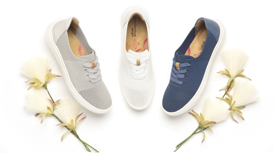 Trista sneaker in light grey, white and french blue.  Shop Trista