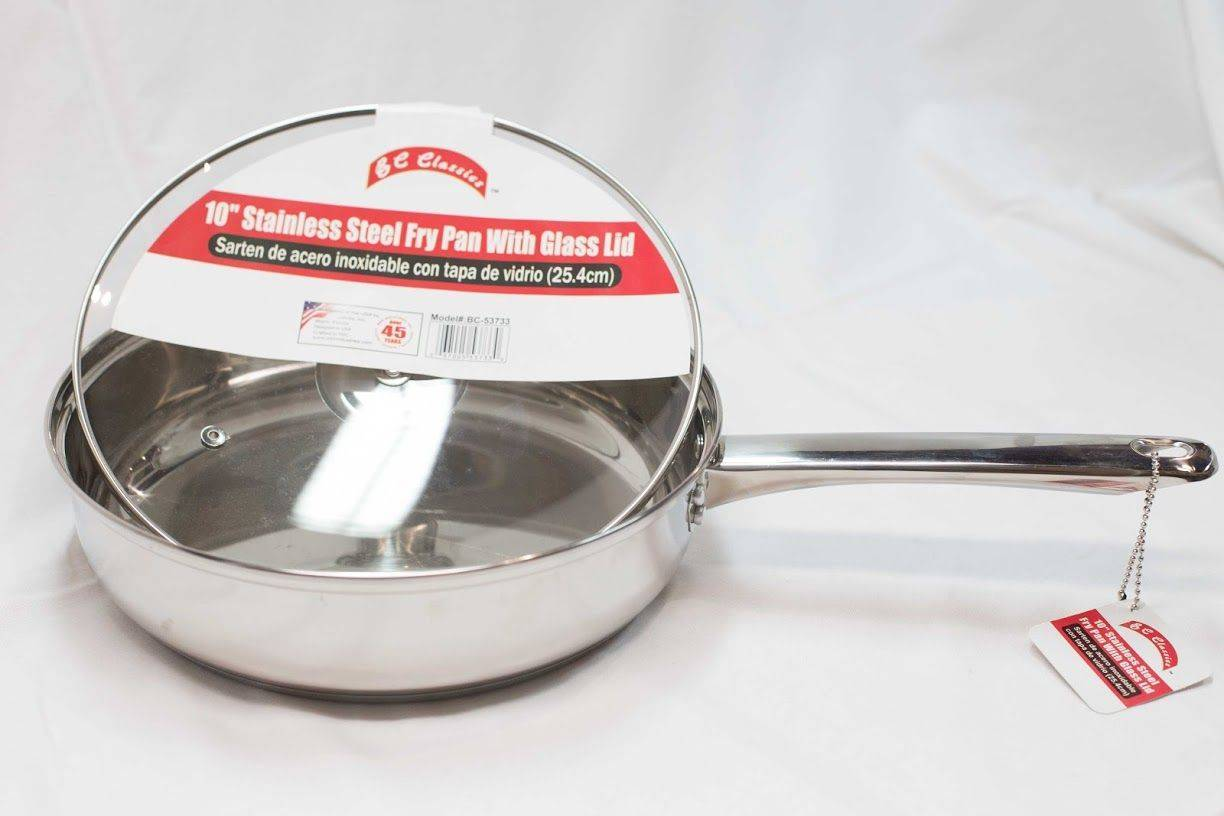 "BC Classics 10"" Stainless Steel Fry Pan with Glass Lid (25.4cm)"