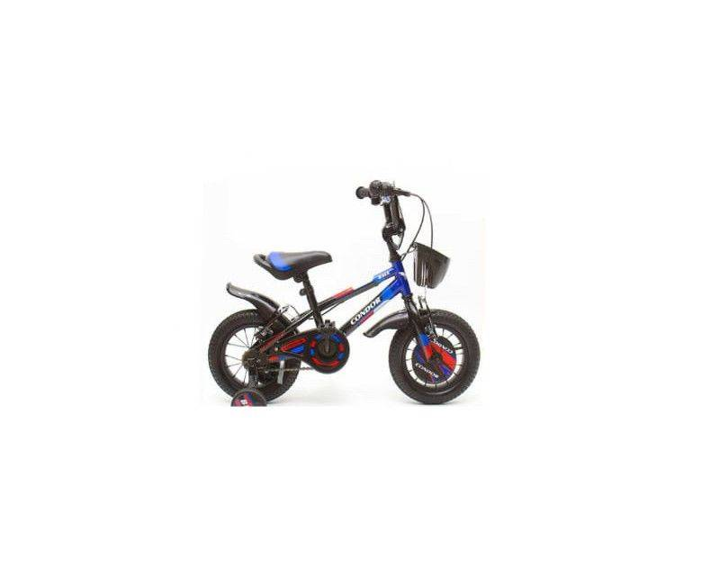 """12"""" Black and blue bike with water bottle holder and basket"""