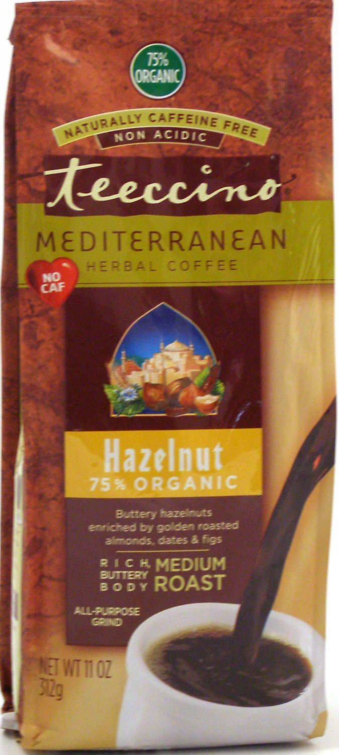 Teeccino Caffeine-Free Herbal Coffee Alternative -Hazelnut 11oz 75% Organic -30 servings