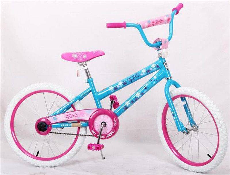 """Blue and pink American Blue 20"""" Bicycle with white wheels"""