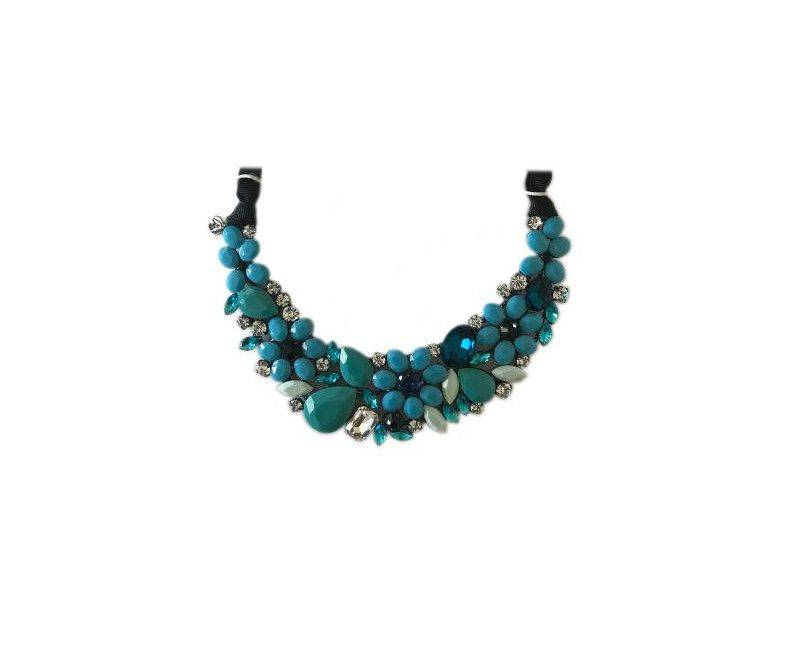 Attitude Blue and Turquoise Multi Gemstone Statement Collar Choker Necklace