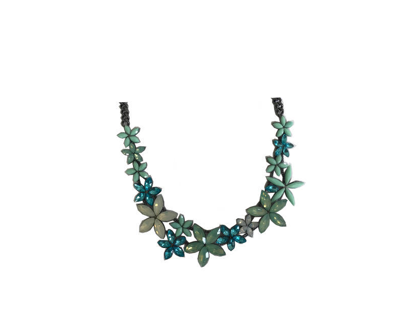 Attitude Blue and White Gemstone Sparkly Collar Statement Fashion Necklace