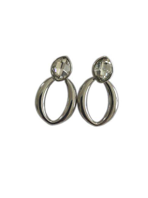 Women's Single Rhinestone Stud W/ Oval Dangle Drop Statement Earring in Silver