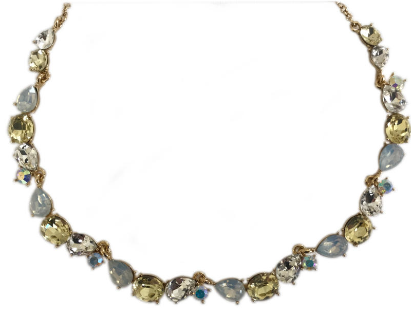 Attitude Yellow, Clear and Opaque Gemstone Mojito Necklace Trim For Women