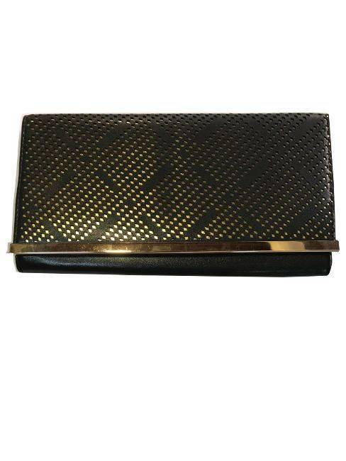 Black Hard Case Clutch Open Flap with Gold Dotted Design And Metal Bar Accent Evening Purse