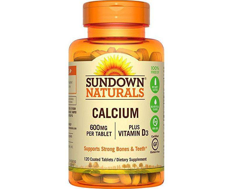 Sundown Naturals Calcium 600mg Plus Vitamin D3 120 Coated Tablets - Supporting Strong Bones and Teeth