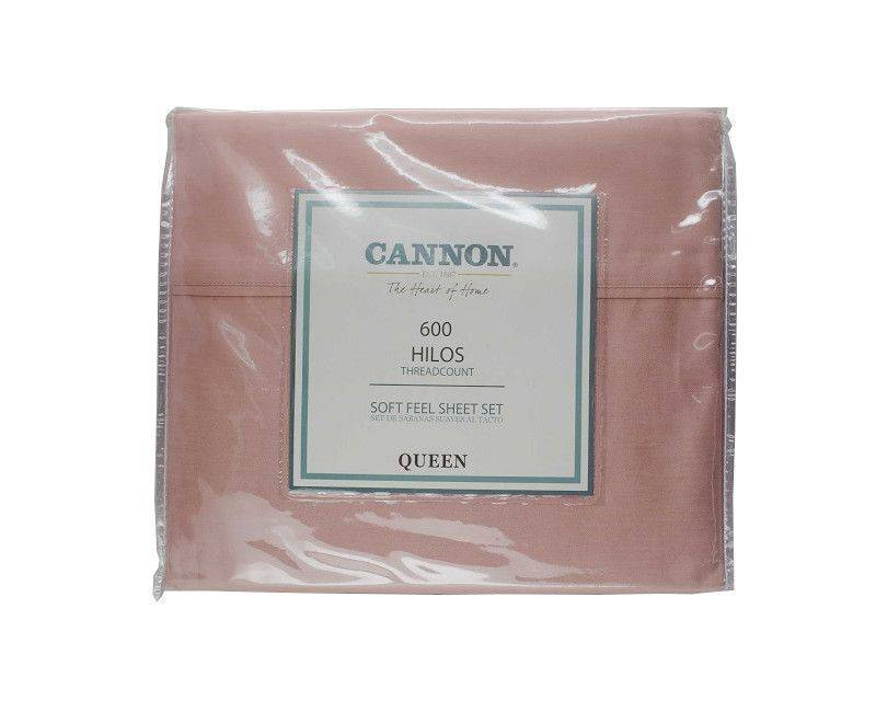Cannon The Heart Of Home 600 Thread Count Queen Bed Sheet Set Pink Champagne