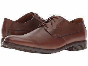 Clarks Becken Plain Tan Leather Mens Oxford Shoe-9.5