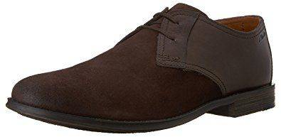 Clarks Hawkley Walk Mens Oxford Dark Brown Combo Shoe-7.5