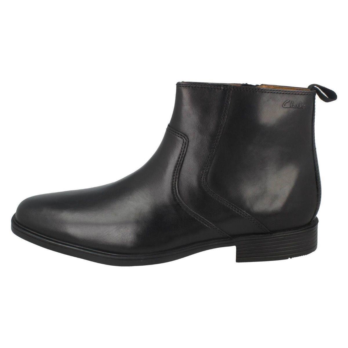 Clarks Tilden Ankle Zip Black Boot for Men-9.5
