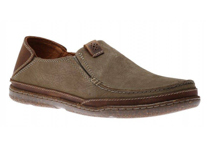 Clarks Trapell Form Mens Canvas Loafers in Olive-8.5