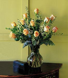 Dozen Pale Peach Roses Floral Arrangement