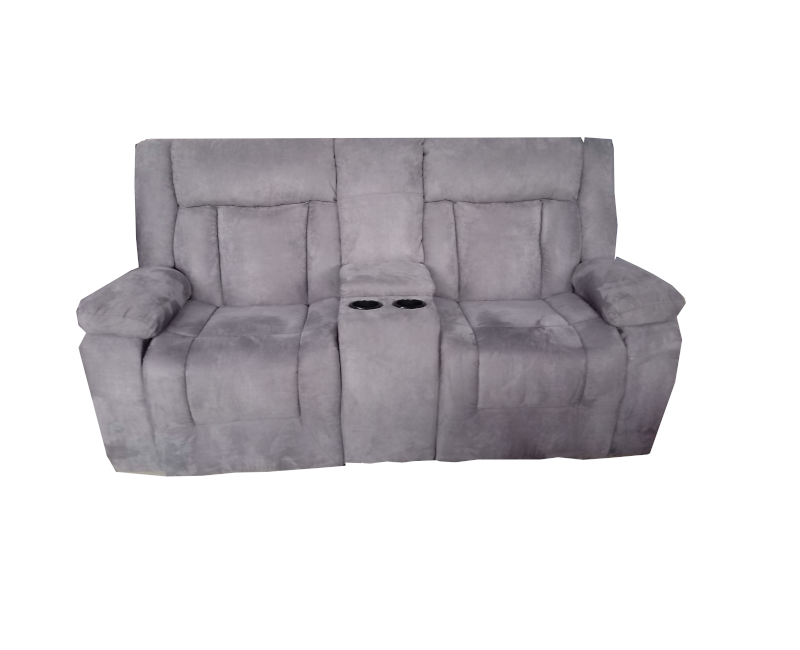 Dual Reclining Loveseat With Console In Grey Plush Microfiber