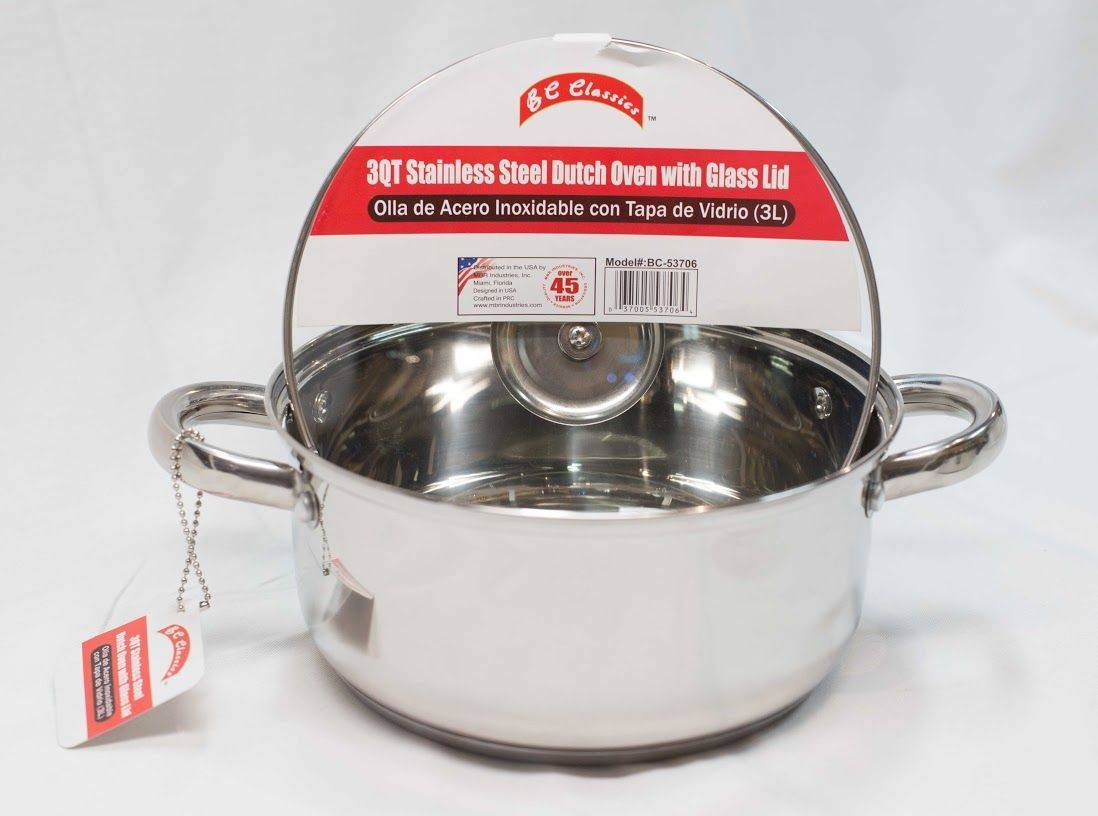 BC Classics 3QT Stainless Steel Dutch Oven with Glass Lid