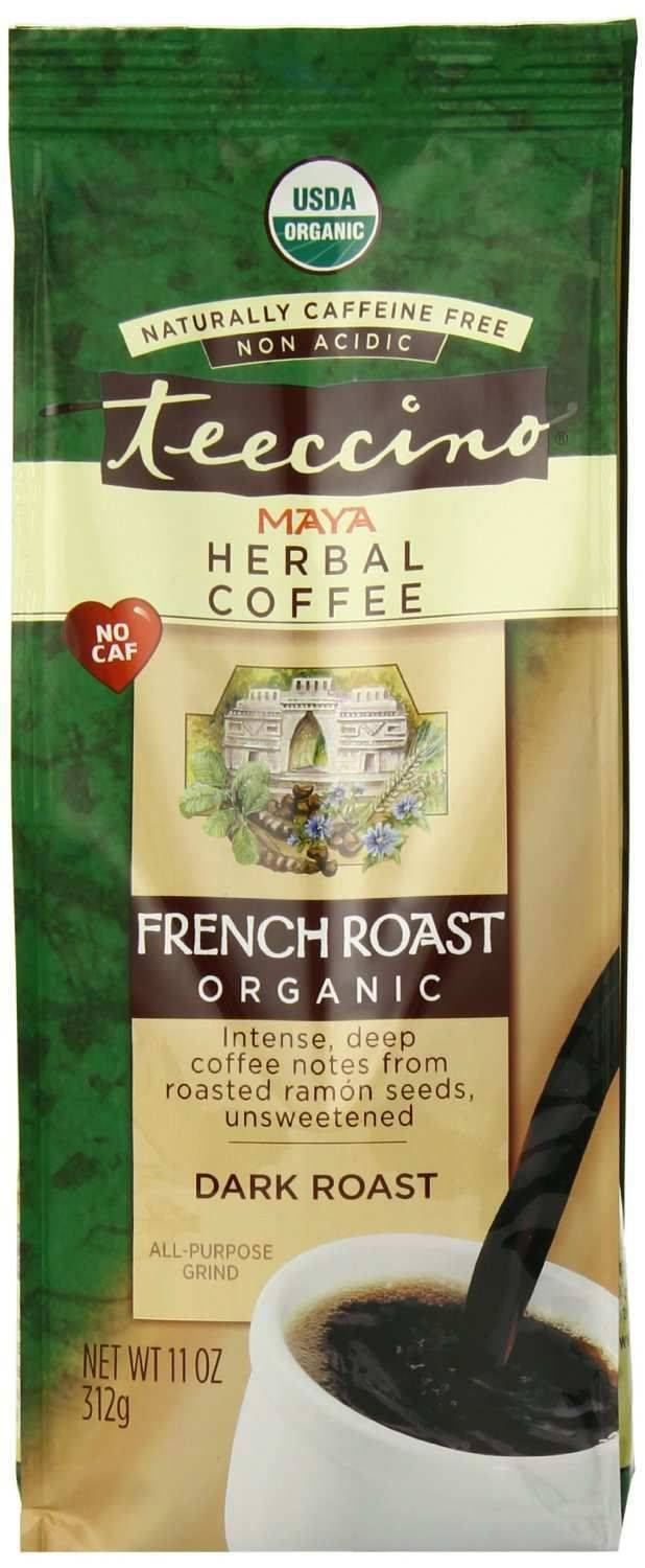 Teeccino Caffeine-Free Organic Herbal Coffee Alternative -French Roast 11oz Bag-30 servings