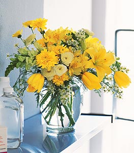Ginger Jar with Bright Yellows Floral Arrangement