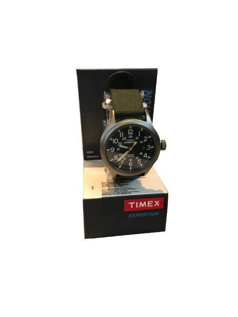 Green Strap black dial green band Timex watch