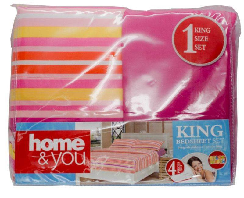 Home and You King Size 4 Piece Bed Sheet Set Pink and Yellow