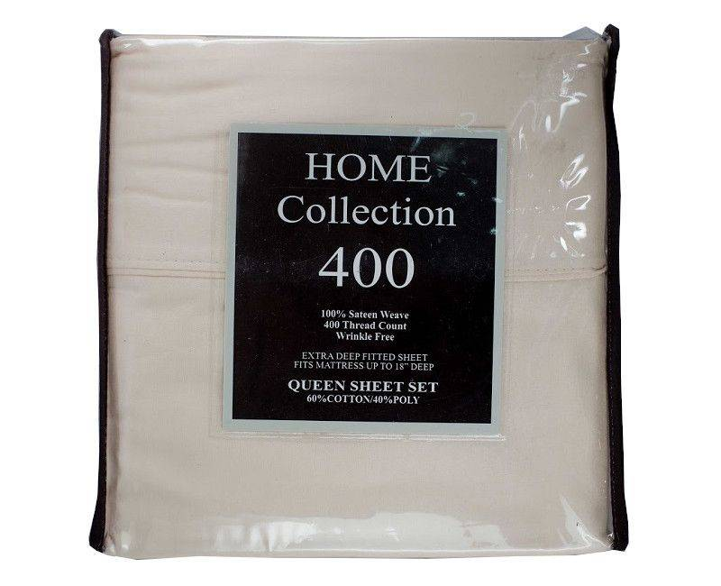 Home Collection 400 Thread Count Queen 4 Piece Beige Bed Sheet Set