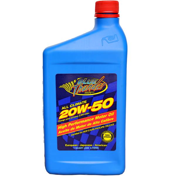 Blue Thunder 20W-50 High Performance Motor Oil 1 Quart (.946 Litres)