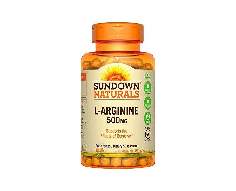 Sundown Naturals L-Arginine 500mg 90 Capsules - Supporting Exercise Effects